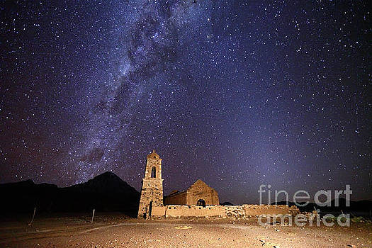 James Brunker - Ruined Church Milky Way and Zodiacal Light Bolivia
