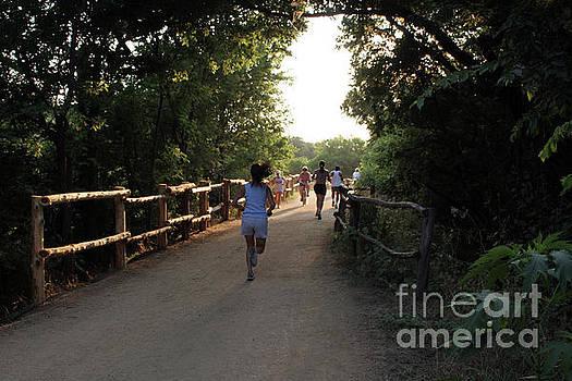 Herronstock Prints - Runners and bikers exercise on the town lake hike and bike trail in austin texas