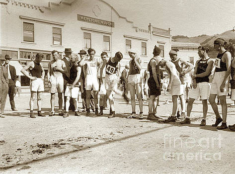 Runners  in downtown Mill Valley was the start of the Dipsea Rac by California Views Mr Pat Hathaway Archives