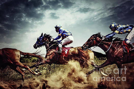 Running horses Competition Jockeys in horse race by Dimitar Hristov