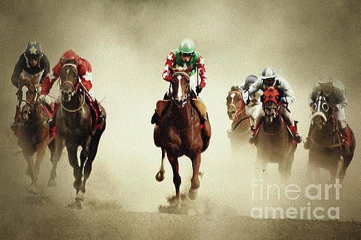 Running horses in dust by Dimitar Hristov