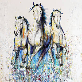 Running With The Herd Horse Painting by Jennifer Godshalk