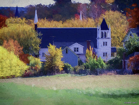 Rural Church in Autumn Colors by Ken Morris