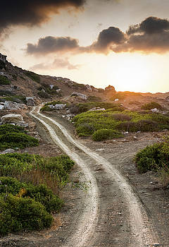 Rural country road  and dramatic susnet by Michalakis Ppalis