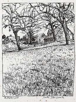 Martin Stankewitz - rural landscape ink drawing Maulbronn Schmie