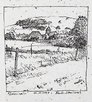 Martin Stankewitz - rural landscape plein air ink drawing