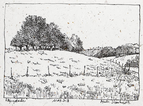 Martin Stankewitz - rural landscape with trees and meadow ink drawing