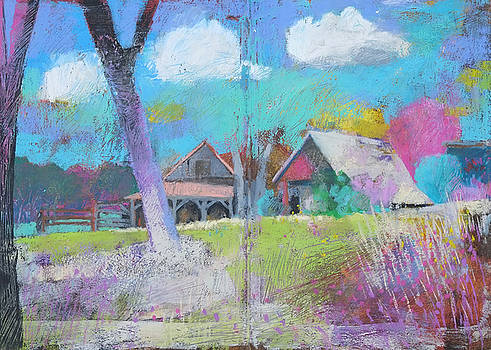 Martin Stankewitz - rural landscape,farm shacks,plein air study