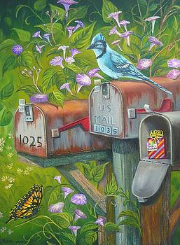 Rural Mailboxes with Bird and Butterfly by Vivian Eagleson