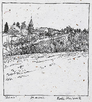 Martin Stankewitz - rural village plein air ink drawing