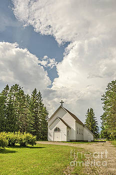 Rural White Church with a Cross by Sue Smith