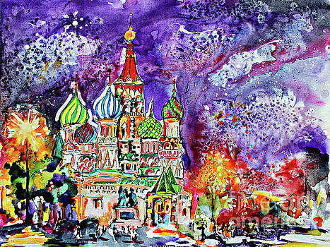 Ginette Callaway - Russia Saint Basil Cathedral Watercolor and Ink Painting