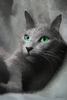 Russian Blue Cat - Painting by Ericamaxine Price