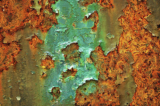 Rust and Deep Aqua Blue Abstract by Brooke T Ryan