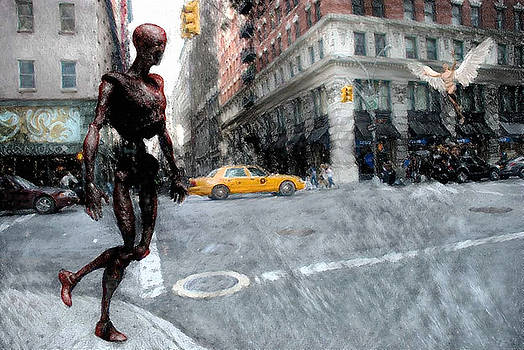 Rusted alien driod and angel in New York by Bruce Rolff