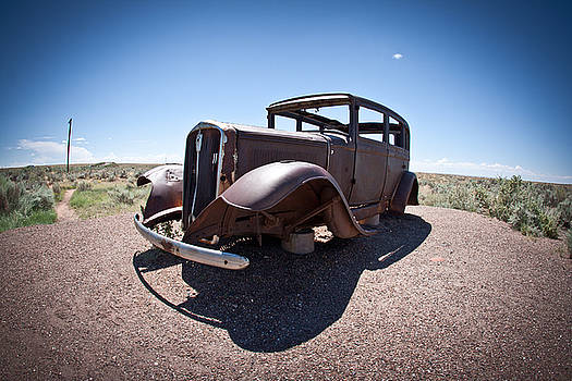 Rusted Old Car on Route 66 by Robert J Caputo