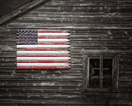 Lisa Russo - Rustic American Flag on a Weathered Grey Barn