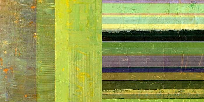 Rustic Green Flag with Stripes by Michelle Calkins