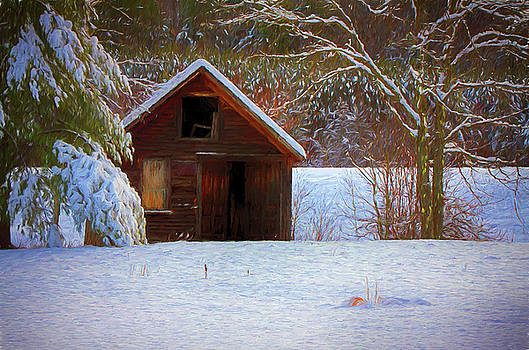 rustic Vermont shack in snow by Jeff Folger