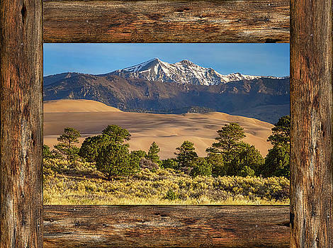 James BO Insogna - Rustic Wood Window Colorado Great Sand Dunes View