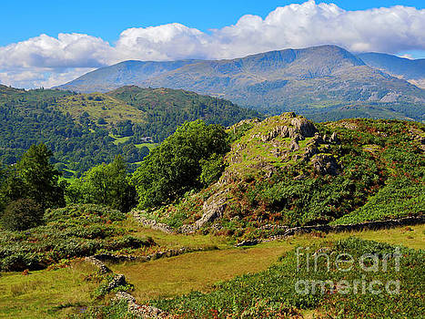 Rydal Fell from Loughrigg Fell in the Lake District by Louise Heusinkveld