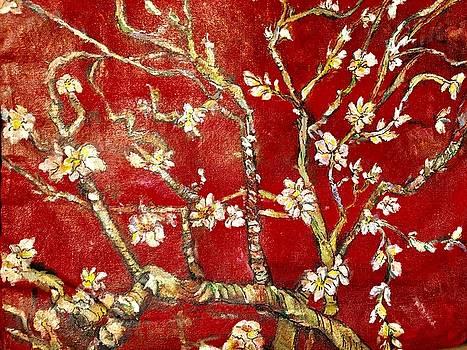 Sac Rouge avec Fleurs d'Almandiers by Belinda Low