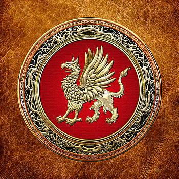 Sacred Golden Griffin On Brown Leather by Serge Averbukh