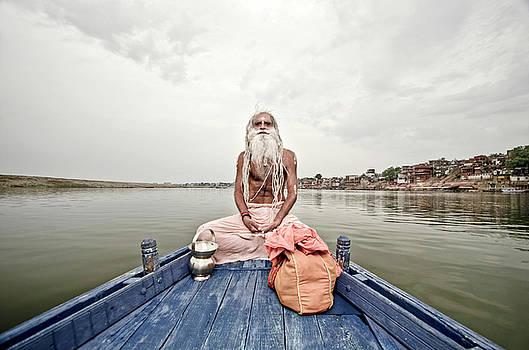 Sadhu on Boat by Aman Chotani