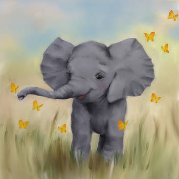 Junko Van Norman - Safari Elephant Painting Nursery Art