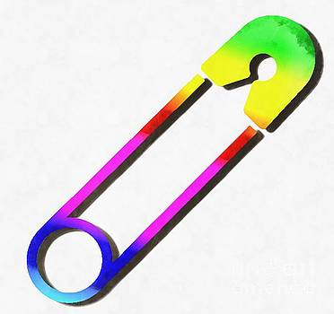 Safety Pin Rainbow Painting by Edward Fielding