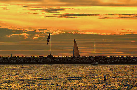 Sail Boat at sunset by Diane Lent