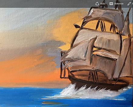 Sail Boat At Sunset by Ramya Sundararajan