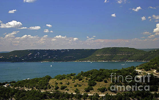 Herronstock Prints - Sail boats and skiers enjoy the paradise of Lake Travis Texas