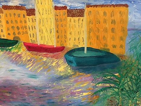 Sail Boats on the Bay of Naples by Susan Grunin