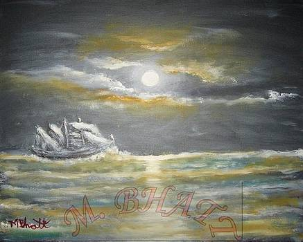 Sail in moonlight by M Bhatt