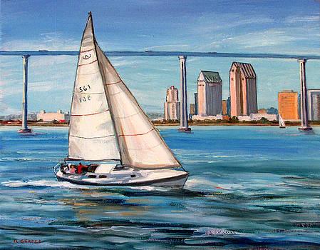 Sailboat and Coronado Bridge by Robert Gerdes