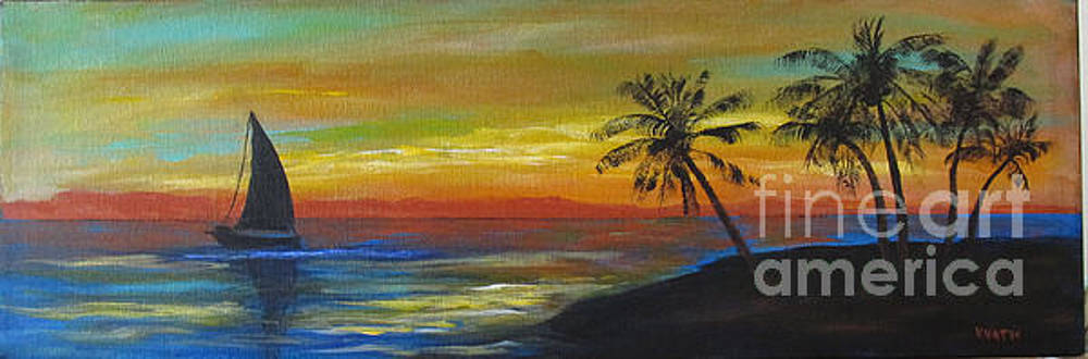 Sailboat and  Palms by Karen Day-Vath