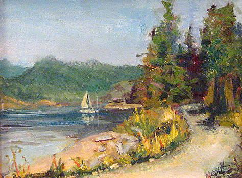 Sailboat at Rebecca Spit by Nanci Cook