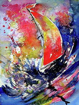 Sailboat at storm by Kovacs Anna Brigitta