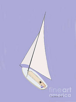 Sailboat Blue Ocean by Fred Jinkins