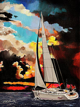 Sailboat in evening color by Bill Dunkley