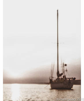 Sailboat in Fog by Mark Peavy