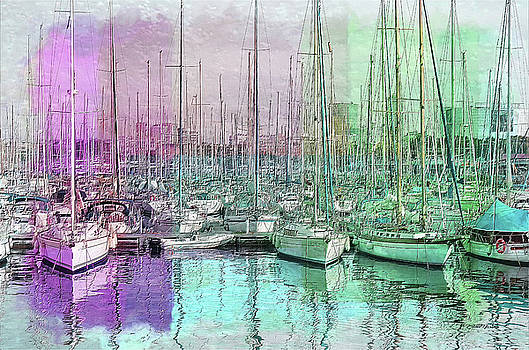 Sailboat Lineup - Watercolor by Ericamaxine Price