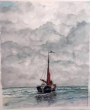 Sailboat on Beach by Richard Benson