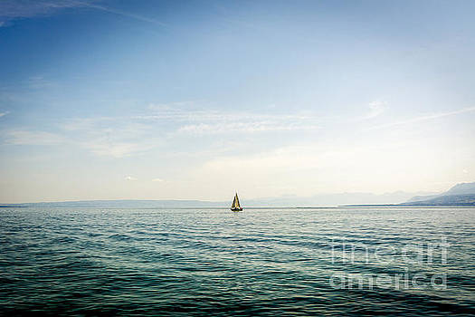BERNARD JAUBERT - Sailboat on Lake Geneva. Switzerland.