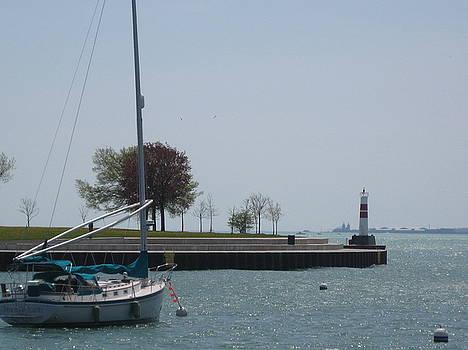 Sailboat on Lake Michigan by Renee Antos