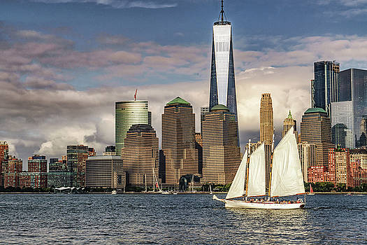 Sailboat on New York Harbor by Janis Knight