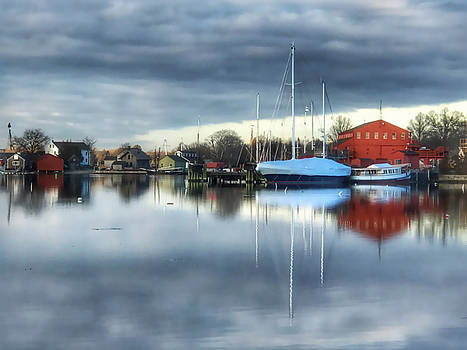 Sailboat Reflection in Mystic Connecticut by Linda Ouellette