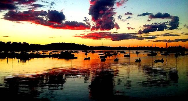 Sailboats and Sunset sky in Hingham, MA by Ron Bartels