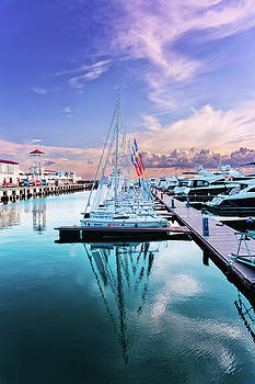 sailboats and yachts in the roads of the main sea channel of the Sochi seaport by George Westermak